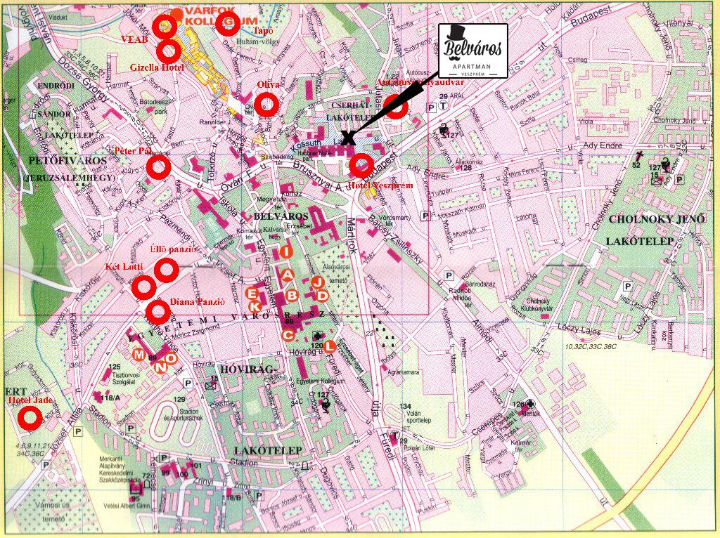 veszprém látnivalók térkép Belváros Apartman Veszprém veszprém látnivalók térkép